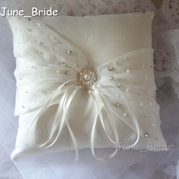 Wholesale Bridal Ring Pillows - Elegant Delicate Crystal Beaded Bridal Ring Pillow Ivory Satin Organza Wedding Ceremony Ring Pillows with Ribbons High Quality New Arrival