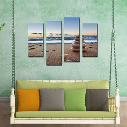 Wholesale Sunrise Wall Art Home Decor - 4 Panel Canvas Paintings Wall Art Stones Balance On Beach Sunrise Shot Painting Picture Print On Canvas Seascape For Home Decor Gift