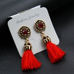 Wholesale fashion earring cards - Gold color New tassel long earrings for women bijoux fashion jewelry wholesale red black colors (without package card)e0187