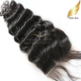 Wholesale Cheap Wavy Indian Remy Hair - Indian Cheap Remy Lace Closure Weave Deep Wave Wavy Top Closures Virgin Human Hair Closures (4x4) Natural Color Bellahair
