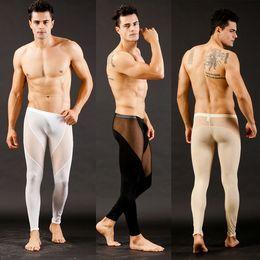 homens livres underwear térmico Desconto Atacado-SL00439 Livre Dropshipping malha dos homens Respirável baixo crescimento longo johns Calças Térmicas Underwear Calças S M L
