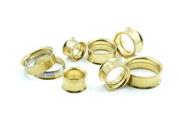 Wholesale Stainless Steel Double Flared Ear - Lot 130pcs Surgical Steel Double Flare Gold Plated Ear Plugs Ear Tunnels Expanders Stretcher Earlets Full Gauges Sets 3mm up to 25mm