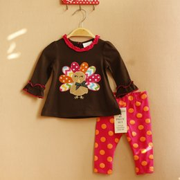 Wholesale Rare Editions - 6 Sets lot 2016 NEW 6M-3T Rare editions Halloween Colorful the Turkey long suit of the girls,Dark brown shir&dots pants Outfit