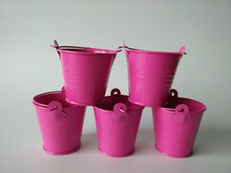 Wholesale Hot Pink Pails - 100pcs Metal Hot Pink Mini Pails Wedding Favors, mini pails,tin candy box, gift package sweet favor boxes nice party supply