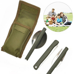 Wholesale Army Spoon - Army Green Folding Portable Stainless Steel Camping Picnic Cutlery Knife Fork Spoon Flatware Tableware Travel Kit YYA384