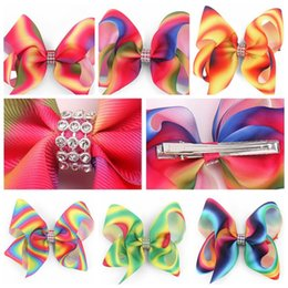 Wholesale Wholesale Coloured Hair Clips - 4 Colors Jojo Girl Newest 5inch Ombre Multi Colours Hair Bows Alligator Clips With Crystal Boutique Rainbow Striped Accessory CCA7973 200pcs