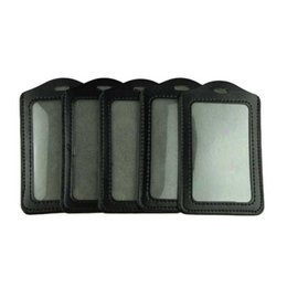 Wholesale Leather Id Card Badge Holder - Wholesale-Essential Voberry 5pcs Black PU Leather Business ID Badge Card Holder Vertical (Top Loading) with Slot & Chain Holes