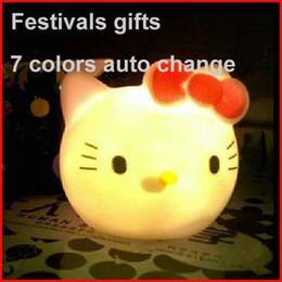 Wholesale Light Up Baby Toys - Cartoon Hello Kitty KT Owl Cat Head Night Light Eye-lantern Desk Electronic Light-up Toys Luminous Lamp Baby Care Kids Birthday Xmas Gifts