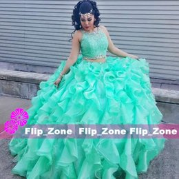 Wholesale Girls Dresses 15 Years - Two Piece Blue Quinceanera Dresses 2016 Cascading Ruffles Organza Girls Vestidos De 15 Anos Lace Appliques Crystals 16 Years Sweet 16 Gowns