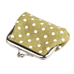 Wholesale wholesale snap coin purse - Wholesale- Cute Girl Mini Purse Polka Dots Pattern Coin Change Key Pouch Snap Closure