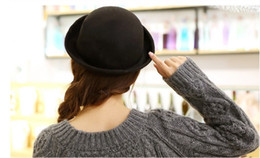 Wholesale Red Bowler - Wholesale-2016 Chapeau New Products For Wholesale Roll Brim Billycock For Women Trendy Female Homburg Hats Solid Wool Bowler Hat [gen-639