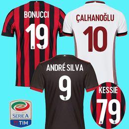 Wholesale Football Milan Ac - AC milan 17 18 soccer jerseys 2018 ac milan football shirt BONUCCI KESSIE ANDRE SILVA CONTI Camisa CALHANOGLU KALINIC BONAVENTURA maillot