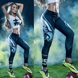 Wholesale Legging Galaxy Free Shipping - 2018 New Women 3D Printed Leggings Gym Yoga Jogging Pants Fitness Football Team Trousers galaxy milk legging digital free shipping Hot Sale