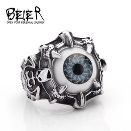 Wholesale Eyeball Rings - Vintage Titanium Steel Rings Ghost Warrior Orange Blue Gray Eyeball Ring Exaggerated Punk Ring Beier Jewelry For Men