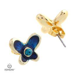 Wholesale Vintage Purple Rhinestone Earrings - Vintage women gold plated earring butterfly style stud earrings gift for girlfriend Purple earrings for women wholesales