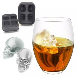 Wholesale Silicone Mold Halloween - Skull Shape 3D Ice Cube Mold Maker Bar Party Silicone Trays Halloween Mould Gift High Quality