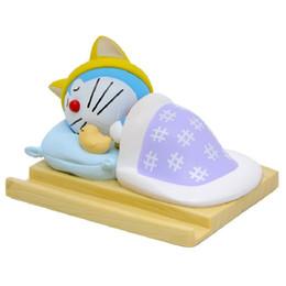 Wholesale Japanese Children Figures - Japanese Animated Movie Doraemon Sleep Edition Doraemon Model PVC Action Figures Toys Creative Cell Phone Holder Children Gifts