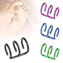 Wholesale Cuff Cartilage - 16g Stainless Steel 3 Row Cirle Helix Fake Cartilage Clip on Ear Cuff Wrap Earring Non Pierced Earring