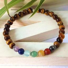 Wholesale Silver Mala - 7 Chakra tigers eye healing bracelets, natural stone mala bracelet, balancing bracelets, yoga spiritual , stretch bracelets