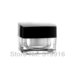 Wholesale Square Cream Cosmetic Jars - Free shipping 10g square acrylic cream jar   containers   bottle , crystal bottle,Black Lid Cosmetic Package Acrylic Container