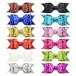 Wholesale Glitter Clips - 24Pcs Lot Girls 3.75 Inch Glitter Hair Bows With Clips Bling Shining Hairpins Hair Clip Barrettes Headwear Beautiful HuiLin C151