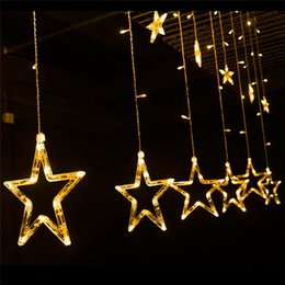Wholesale Christmas Star Xmas Decorations - LED String 2M 138leds 110V 220-240V star curtain fairy light string lights christmas Xmas wedding party halloween decoration