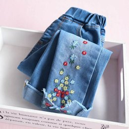 Wholesale Girl Pencils - 2017 Autumn New Girls Jeans plum blossom Embroidery Denim Pencil Trousers Children Clothing 3-12Y E316524