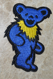 Wholesale Wholesale Bear Patches - HOT SALE! ~ Blue Grateful Dead Grooving DANCING BEAR Iron On Patches, sew on patch,Appliques, Made of Cloth,100% Quality