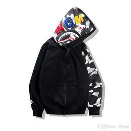Wholesale Night Jacket - 2017 Autumn Winter Tide Brand Teenager Hip Hop Shark Print Camo Hoodie Loves Night Camouflage Cotton Zipper Sweatshirt Jacket