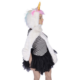 Wholesale Anime Mittens - Halloween Cosplay 3 in 1 Plush Unicorn Party Hat with Built-In Scarf and Mittens Cartoon Animal Party Costume Gift