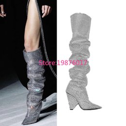 Wholesale pointy toe boots - Trendy New Designer Fashion Cone Heel Bling-bling Thigh High Boots Sexy Celebrity Beading Pointy High Heel Boots
