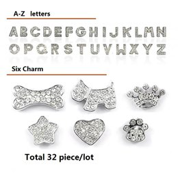 Wholesale Rhinestone Pet Charms - White Letters 10mm Clear Rhinestone Letters Charms charm Dog Pet Cat Name Personalized name DIY slider 26pcs A-Z