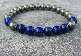 Wholesale Lapis Lazuli Beads Wholesale - SN1080 2016 Mens Pyrite Lapis Lazuli Bracelet Yoga Wrist Mala Beads Jewelry Healing Crystals Solar Plexus Chakra Bracelet