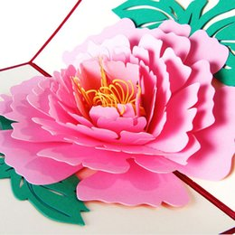 Wholesale Mothers Greeting Cards - 3D Pop Up Greeting Cards Peony Birthday Valentine Mother Day Christmas good quality