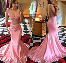 Wholesale Silk One Shoulder Long Dress - Pink Mermaid Long Prom Dresses 2016 Illusion Bodice Applique Pearls Sheer Formal Evening Dress African Satin Women Gown Vestidos