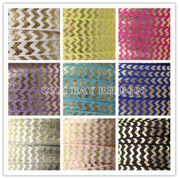 "Wholesale Pink Chevron Ribbon - 5 8"" Gold Foil Chevron Printed FOE Ribbon for Dress Accessories Hair Tie DIY Handmade Hairbands Ribbons"