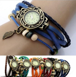 Wholesale Retro Womens Leather Wrist Watch - Retro Quartz Weave Wrap Around Leather Bracelet Bangle Womens luxury Tree Leaf Women Girls LADIES Wrist Watch 500pcs lot