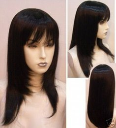 Wholesale Maysu Hair - MAYSU 100 % Hand-Made Silk Wig In Brazil Is Full Of My Shoelaces Human Hair Wigs 5.5 x 5.5 Black Silk Weaving Wigs Senior Fills My Wigs