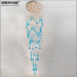 Wholesale Project Blue - Long Large Crystal Chandelier Lamp Royal Blue Crystal Chandelier Light Fixture for staircase foyer Hotel Project Lighting