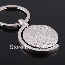 Wholesale Globe Rings - Globe tellurion keychain key ring keychain lettering printed logo individuality present customizable metal Rotating globe key chain