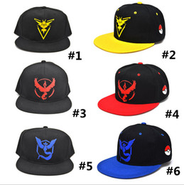 Wholesale 3d Embroidery Snapback - 3D Cartoon Poke Go Logo Caps Pocket Monster Embroidery cap Hats Casual Poke Mon men women Baseball Cap mystic instinct valor snapback
