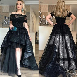 Wholesale Full Size Evening Gowns - Elegant Black Full Lace High Low Prom Dress Off Shoulder Short Sleeves Evening Gowns High Quality Fashion Party Gown Custom Made