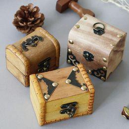 scatola di immagazzinaggio della scatola di legno Sconti Scatola di immagazzinaggio Contenitore di monili di legno Regalo di nozze Trucco Orecchini cosmetici Anello Scrivania Gamma Make Up Wooden Organizer ZA2998