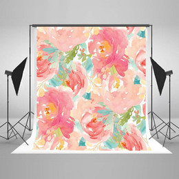 Wholesale Baby Pink Paint - Photography Backdrop Pink Flower Background Color Painting Background Collapsible Baby Shower Photography Background Studio Prop J01677