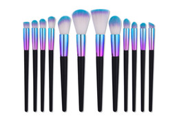 Röhrenkits online-Mileegirl New 7 12pcs Make-up Pinsel Set Regenbogen Tube Holz Professionelle Foundation Contour Face Brush Kits