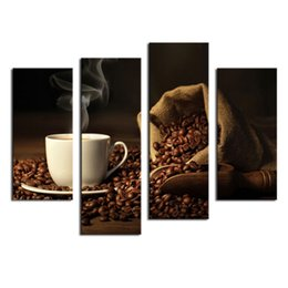 Wholesale Food Canvas Prints - Amosi Art-4 Pieces Brown A Cup Of Coffee And Coffee Bean Wall Art Painting The Picture Print On Canvas Food For Home Decor (Wooden Framed)