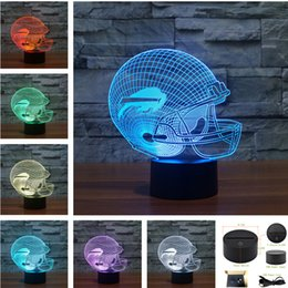 Wholesale Bird Lamps - Olives Ball cap Birds Helmet Touch RGB LED Table Lamp Children Bedroom 7 Colors 3D Night Light Valentine's Day Birthday Gift-221