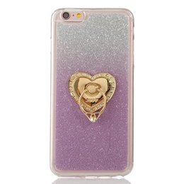 Wholesale rhinestone cover case - For Iphone8 Iphone X 8 7 PLUS 7plus I7 SE 5 5S 6 6S 4 4S Grip Stand Finger Diamond Bling Glitter Soft TPU Case Gradient Colorful Skin Cover