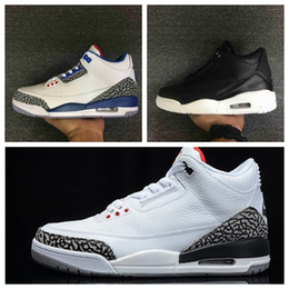 Wholesale Hunting Sweaters - 2016 Mens Athletic Retro 3 Cyber Monday Basketball Shoes Brand Retro III True Blue & White Cement &Sweater Outdoor Sport Sneakers 41-46