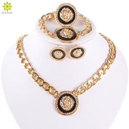 Wholesale Lion Silver Necklace - Hip Hop Jewelry Punk Style Lion Head Gold Silver Plated Sets Necklace Earrings Ring Bracelet Exaggerate Jewelry Sets